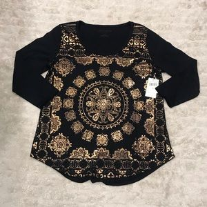 Lucky Brand Foil Medallion t-shirt Size Large